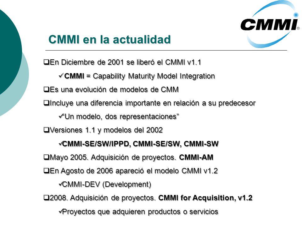 CMMI en la actualidad En Diciembre de 2001 se liberó el CMMI v1.1 En Diciembre de 2001 se liberó el CMMI v1.1 CMMI = Capability Maturity Model Integration CMMI = Capability Maturity Model Integration Es una evolución de modelos de CMM Es una evolución de modelos de CMM Incluye una diferencia importante en relación a su predecesor Incluye una diferencia importante en relación a su predecesor Un modelo, dos representaciones Un modelo, dos representaciones Versiones 1.1 y modelos del 2002 Versiones 1.1 y modelos del 2002 CMMI-SE/SW/IPPD, CMMI-SE/SW, CMMI-SW CMMI-SE/SW/IPPD, CMMI-SE/SW, CMMI-SW Mayo 2005.