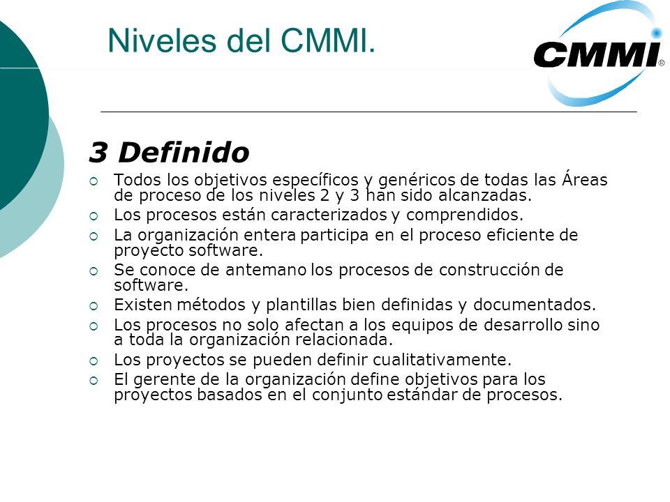 Niveles del CMMI. 3 Definido Todos los objetivos específicos y genéricos de todas las Áreas de proceso de los niveles 2 y 3 han sido alcanzadas. Los p