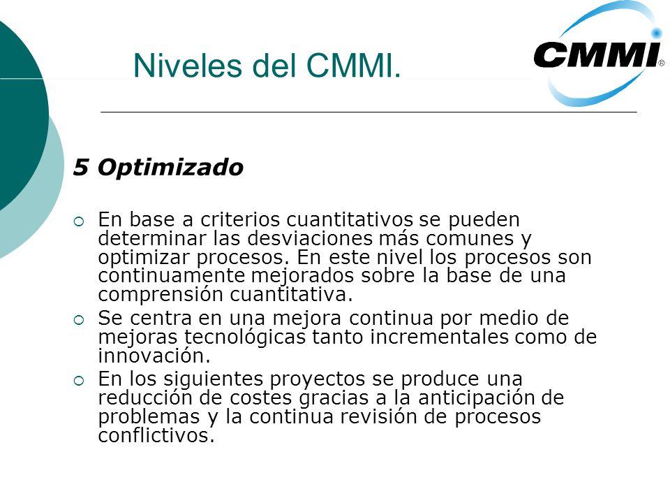 Niveles del CMMI. 5 Optimizado En base a criterios cuantitativos se pueden determinar las desviaciones más comunes y optimizar procesos. En este nivel