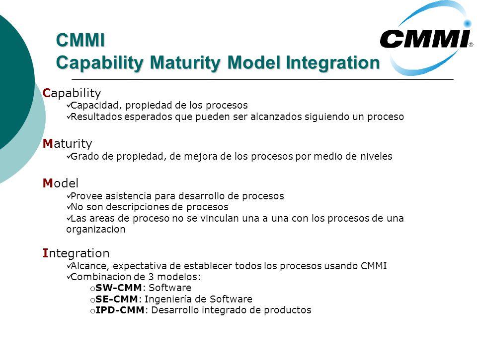 CMMI Capability Maturity Model Integration Capability Capacidad, propiedad de los procesos Resultados esperados que pueden ser alcanzados siguiendo un