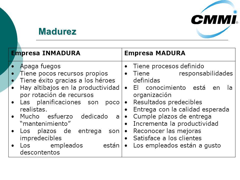 Madurez Empresa INMADURAEmpresa MADURA Apaga fuegos Tiene pocos recursos propios Tiene éxito gracias a los héroes Hay altibajos en la productividad po