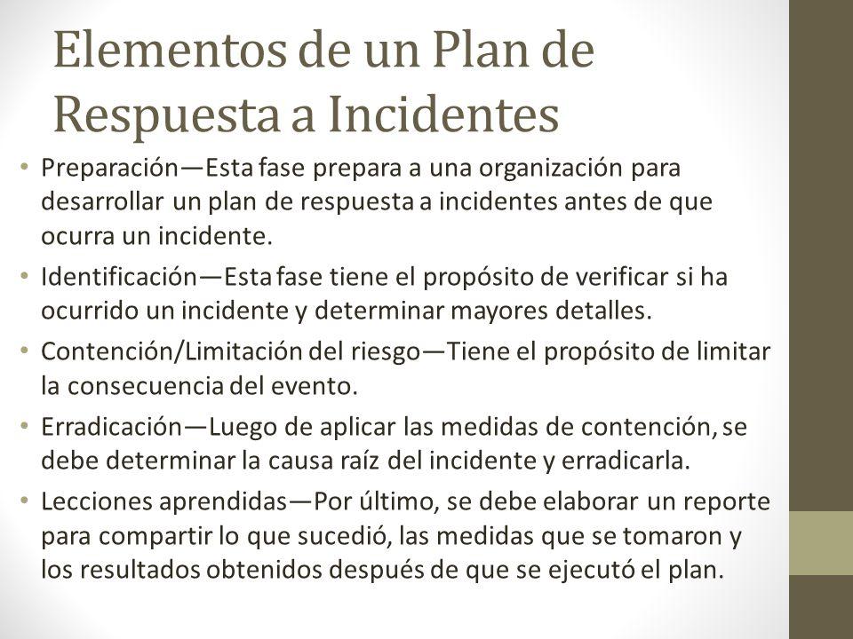 Elementos de un Plan de Respuesta a Incidentes PreparaciónEsta fase prepara a una organización para desarrollar un plan de respuesta a incidentes ante