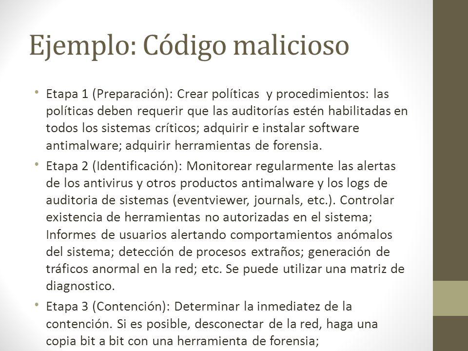 Ejemplo: Código malicioso Etapa 1 (Preparación): Crear políticas y procedimientos: las políticas deben requerir que las auditorías estén habilitadas e