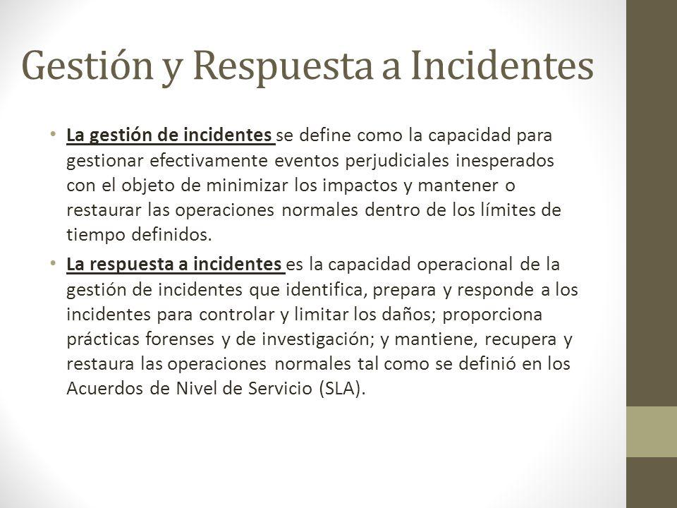 Gestión y Respuesta a Incidentes La gestión de incidentes se define como la capacidad para gestionar efectivamente eventos perjudiciales inesperados c