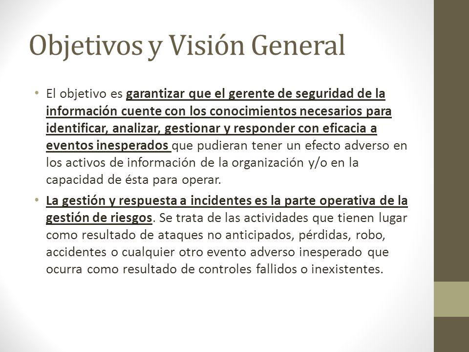 Objetivos y Visión General El objetivo es garantizar que el gerente de seguridad de la información cuente con los conocimientos necesarios para identi