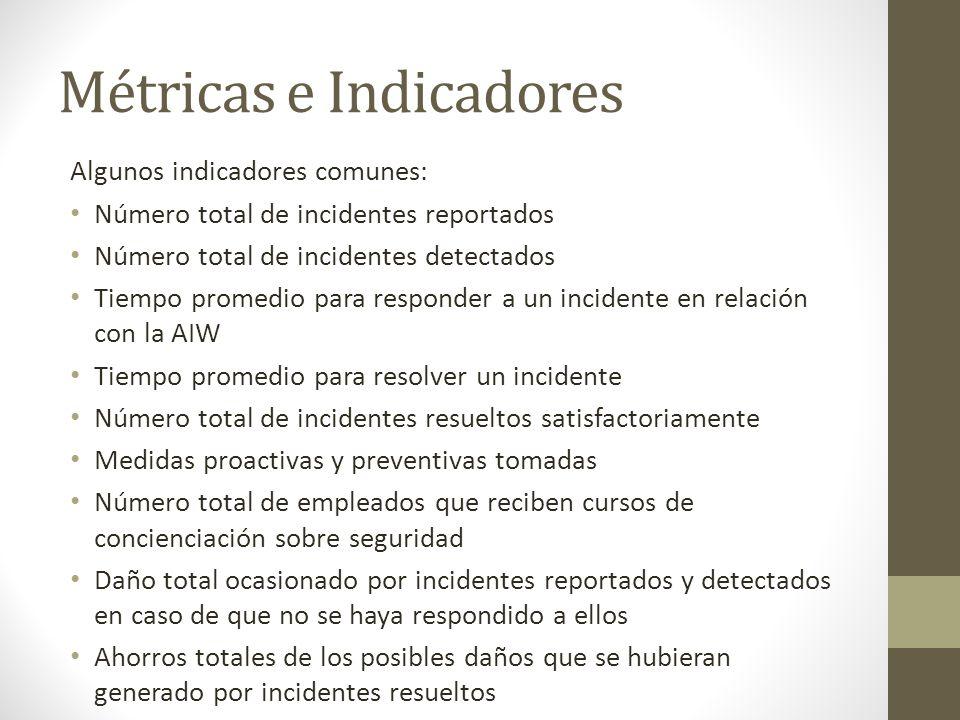 Métricas e Indicadores Algunos indicadores comunes: Número total de incidentes reportados Número total de incidentes detectados Tiempo promedio para r