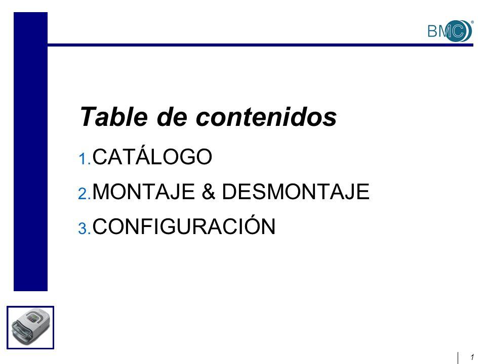 1 Table de contenidos 1. CATÁLOGO 2. MONTAJE & DESMONTAJE 3. CONFIGURACIÓN