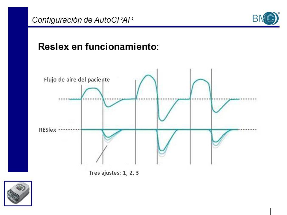 Configuración de AutoCPAP Reslex en funcionamiento: Flujo de aire del paciente RESlex Tres ajustes: 1, 2, 3