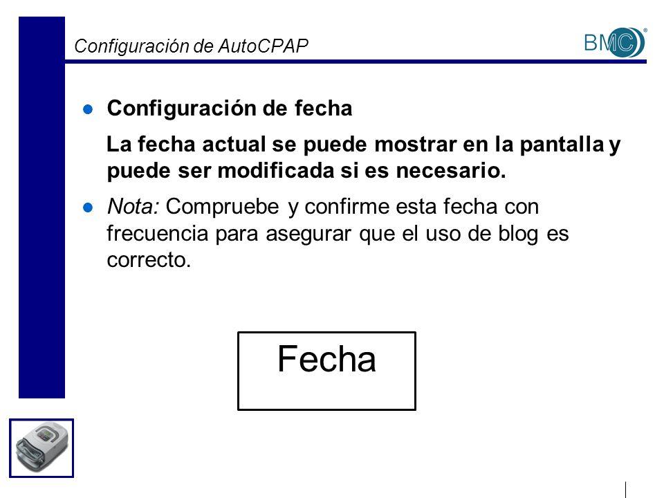 Configuración de AutoCPAP Configuración de fecha La fecha actual se puede mostrar en la pantalla y puede ser modificada si es necesario. Nota: Comprue
