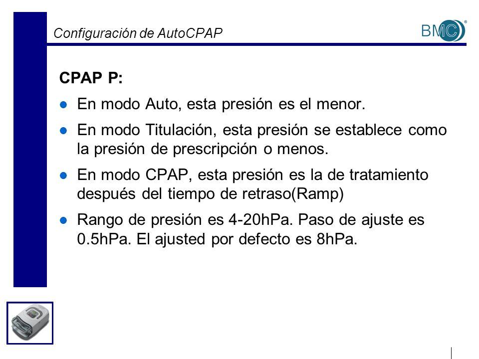 Configuración de AutoCPAP CPAP P: En modo Auto, esta presión es el menor. En modo Titulación, esta presión se establece como la presión de prescripció