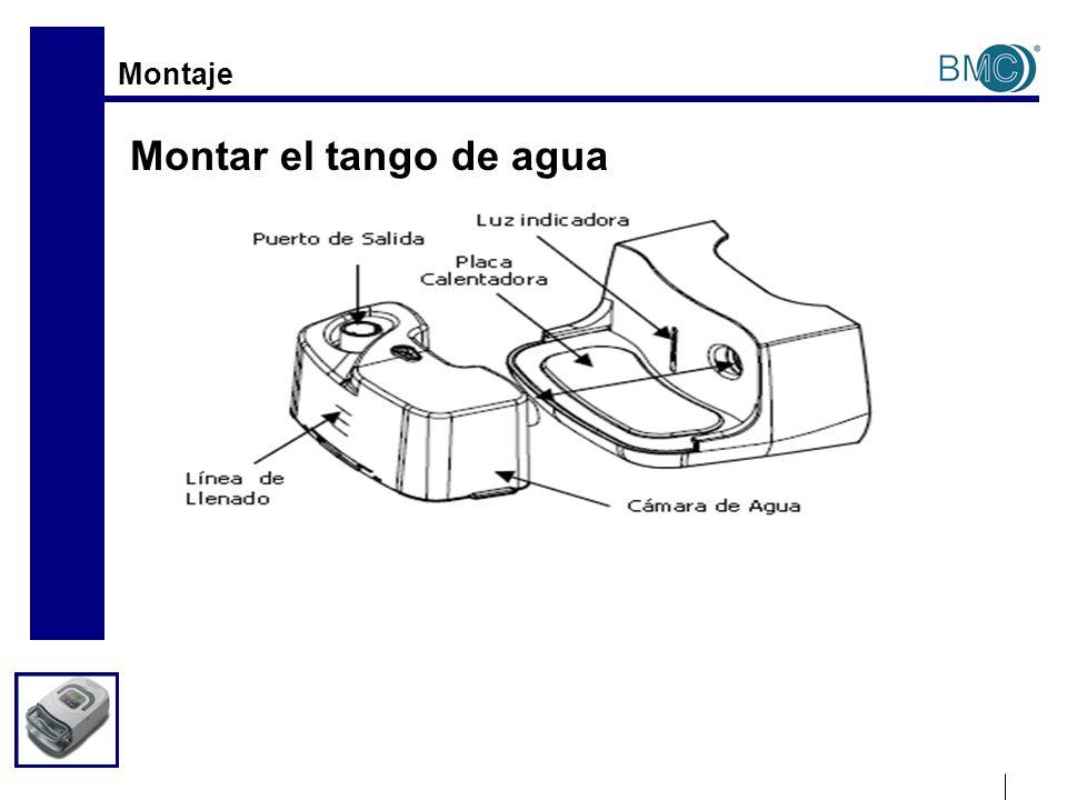 Montaje Ponga el tango de agua en la placa calentadora, presione y empújelo a lo largo de la ranura del humidificador hasta que se conecten completamente.