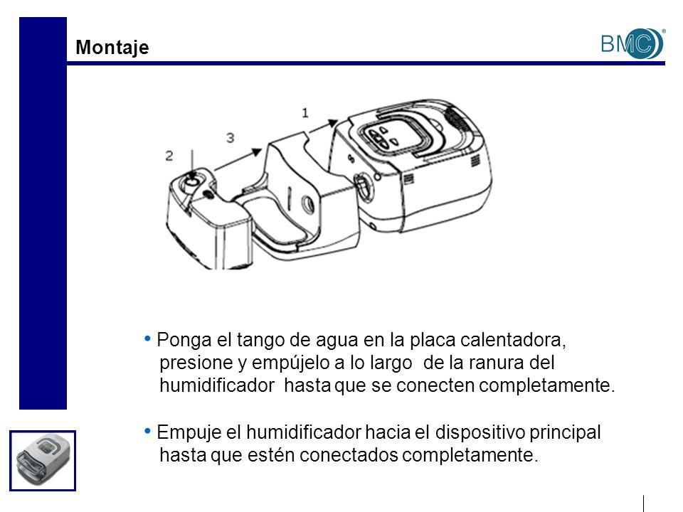 Montaje Ponga el tango de agua en la placa calentadora, presione y empújelo a lo largo de la ranura del humidificador hasta que se conecten completame