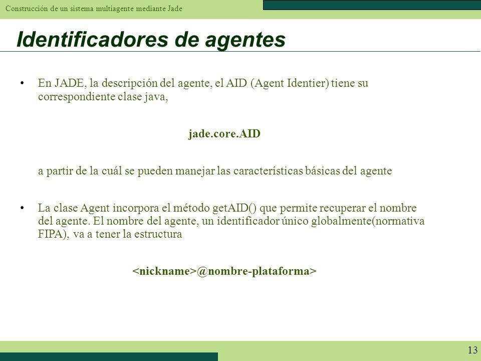 Construcción de un sistema multiagente mediante Jade 13 Identificadores de agentes En JADE, la descripción del agente, el AID (Agent Identier) tiene s