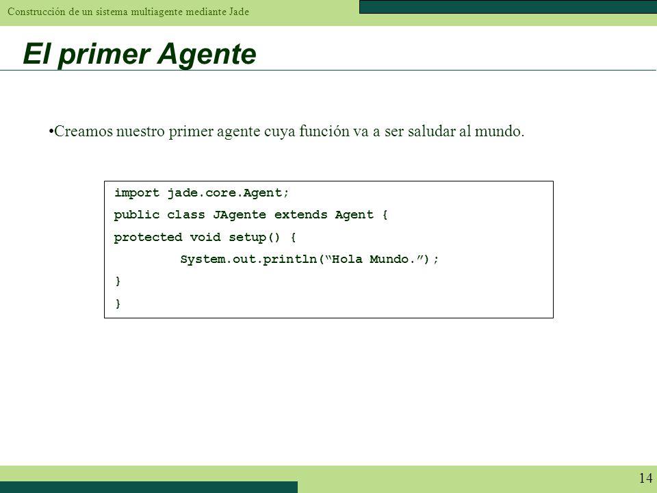 Construcción de un sistema multiagente mediante Jade 14 El primer Agente import jade.core.Agent; public class JAgente extends Agent { protected void s
