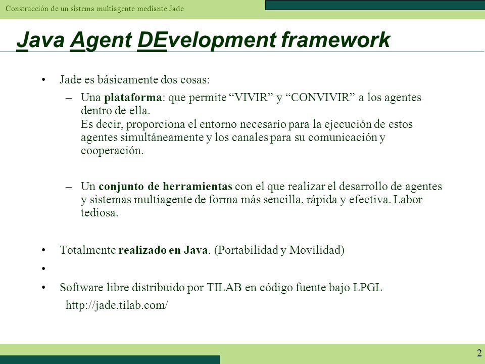 Construcción de un sistema multiagente mediante Jade 2 Java Agent DEvelopment framework Jade es básicamente dos cosas: –Una plataforma: que permite VI