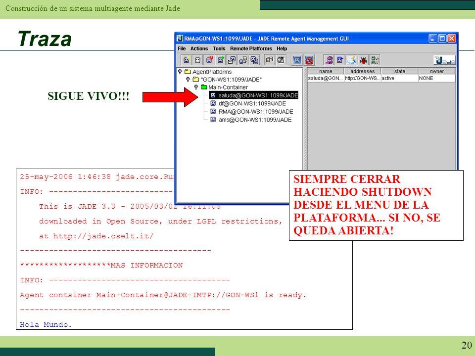 Construcción de un sistema multiagente mediante Jade 20 Traza 25-may-2006 1:46:38 jade.core.Runtime beginContainer INFO: -----------------------------