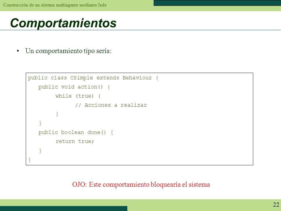 Construcción de un sistema multiagente mediante Jade 22 Comportamientos public class CSimple extends Behaviour { public void action() { while (true) {
