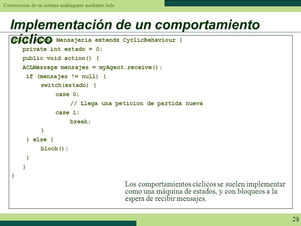 Construcción de un sistema multiagente mediante Jade 28 Implementación de un comportamiento cíclico public class Mensajeria extends CyclicBehaviour {