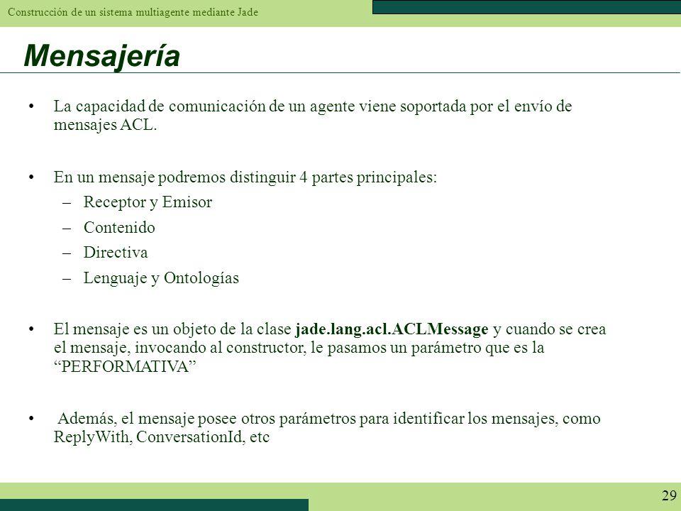 Construcción de un sistema multiagente mediante Jade 29 Mensajería La capacidad de comunicación de un agente viene soportada por el envío de mensajes
