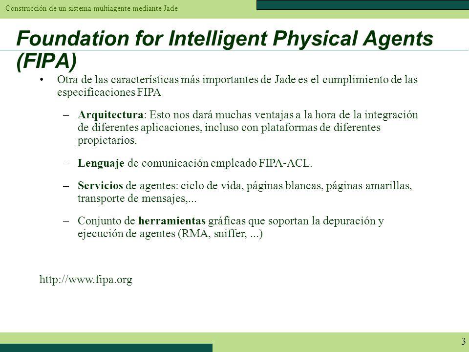 Construcción de un sistema multiagente mediante Jade 3 Foundation for Intelligent Physical Agents (FIPA) Otra de las características más importantes d