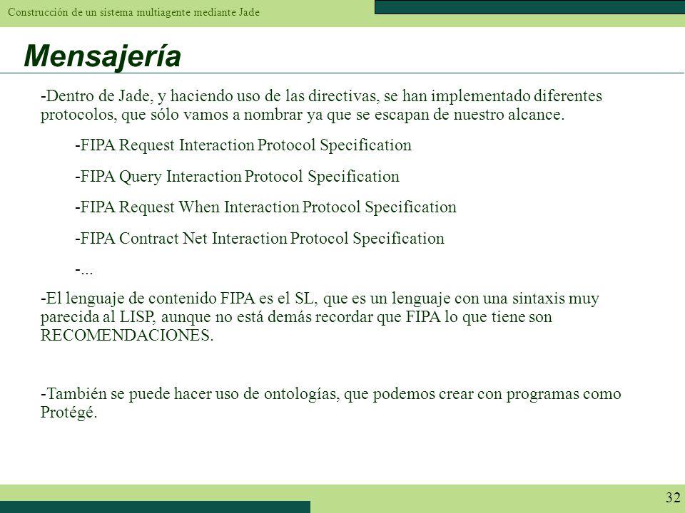 Construcción de un sistema multiagente mediante Jade 32 Mensajería -Dentro de Jade, y haciendo uso de las directivas, se han implementado diferentes p