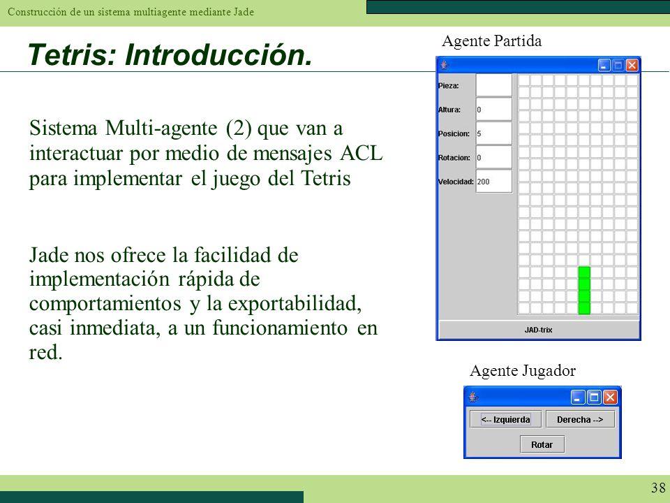 Construcción de un sistema multiagente mediante Jade 38 Tetris: Introducción. Sistema Multi-agente (2) que van a interactuar por medio de mensajes ACL