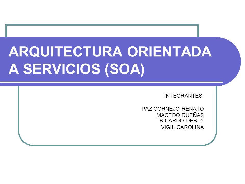 ARQUITECTURA ORIENTADA A SERVICIOS (SOA) INTEGRANTES: PAZ CORNEJO RENATO MACEDO DUEÑAS RICARDO DERLY VIGIL CAROLINA