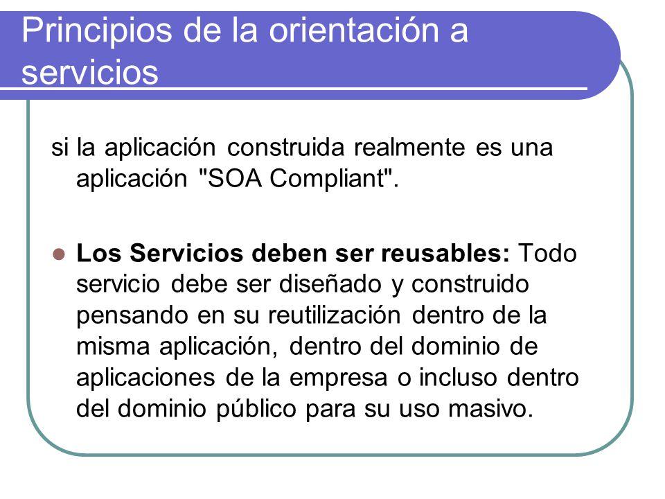 Principios de la orientación a servicios si la aplicación construida realmente es una aplicación SOA Compliant .