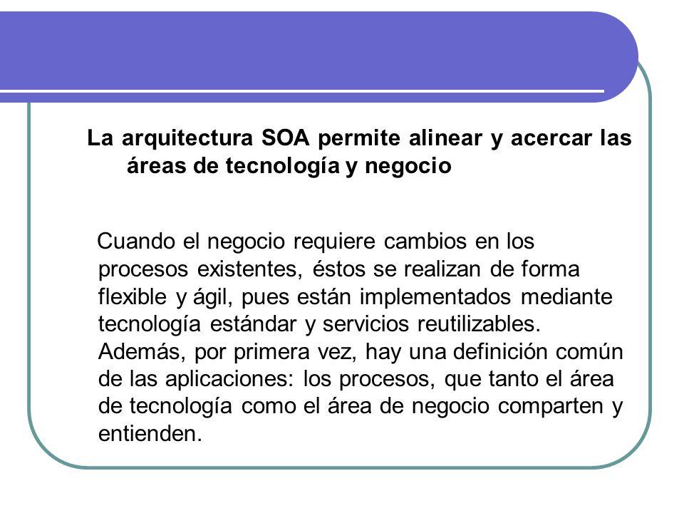 La arquitectura SOA permite alinear y acercar las áreas de tecnología y negocio Cuando el negocio requiere cambios en los procesos existentes, éstos se realizan de forma flexible y ágil, pues están implementados mediante tecnología estándar y servicios reutilizables.