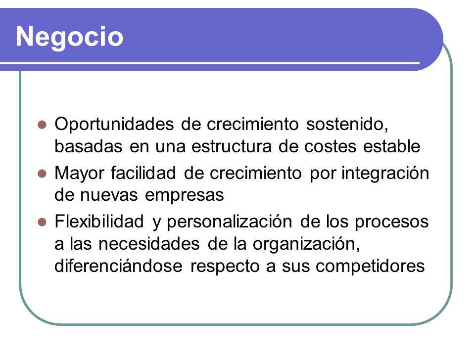 Negocio Oportunidades de crecimiento sostenido, basadas en una estructura de costes estable Mayor facilidad de crecimiento por integración de nuevas empresas Flexibilidad y personalización de los procesos a las necesidades de la organización, diferenciándose respecto a sus competidores