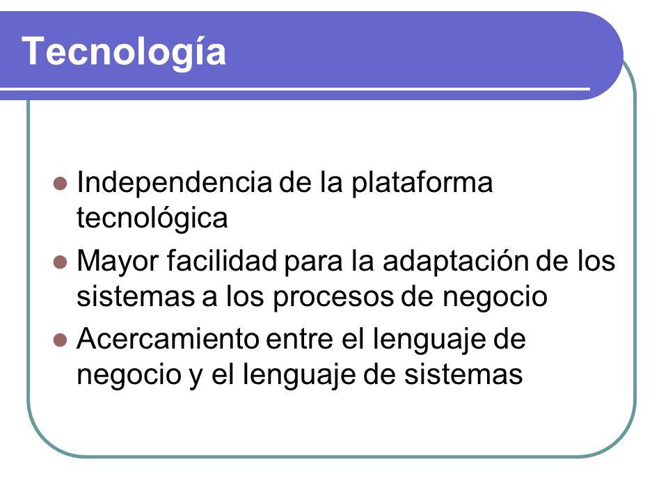Tecnología Independencia de la plataforma tecnológica Mayor facilidad para la adaptación de los sistemas a los procesos de negocio Acercamiento entre el lenguaje de negocio y el lenguaje de sistemas