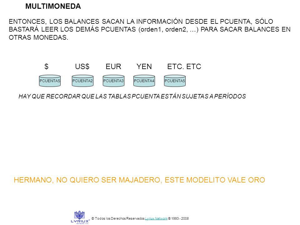 MULTIMONEDA © Todos los Derechos Reservados Lyriux Network ® 1993 - 2008Lyriux Network ENTONCES, LOS BALANCES SACAN LA INFORMACIÓN DESDE EL PCUENTA, S