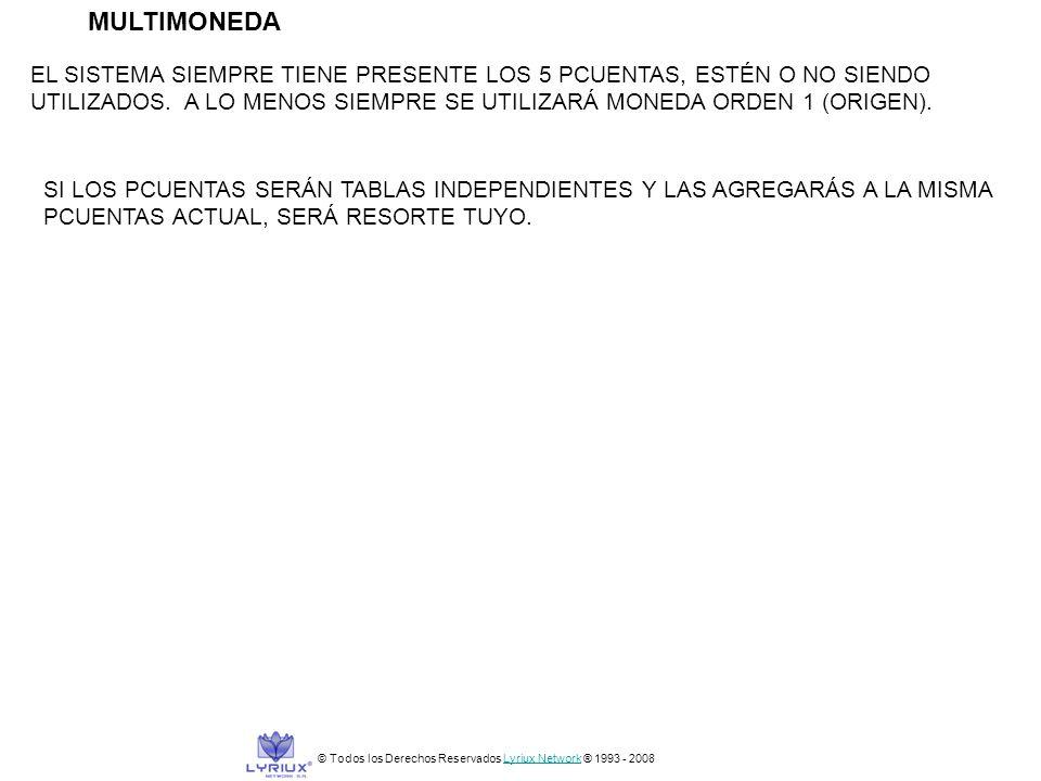 MULTIMONEDA © Todos los Derechos Reservados Lyriux Network ® 1993 - 2008Lyriux Network EL SISTEMA SIEMPRE TIENE PRESENTE LOS 5 PCUENTAS, ESTÉN O NO SI
