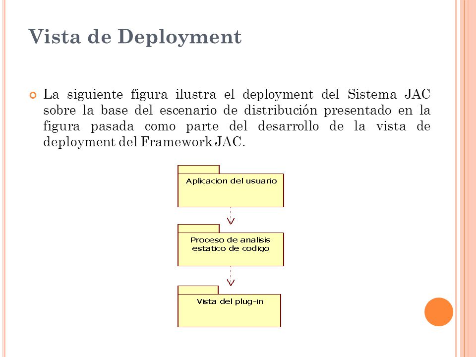 Vista de Deployment La siguiente figura ilustra el deployment del Sistema JAC sobre la base del escenario de distribución presentado en la figura pasada como parte del desarrollo de la vista de deployment del Framework JAC.