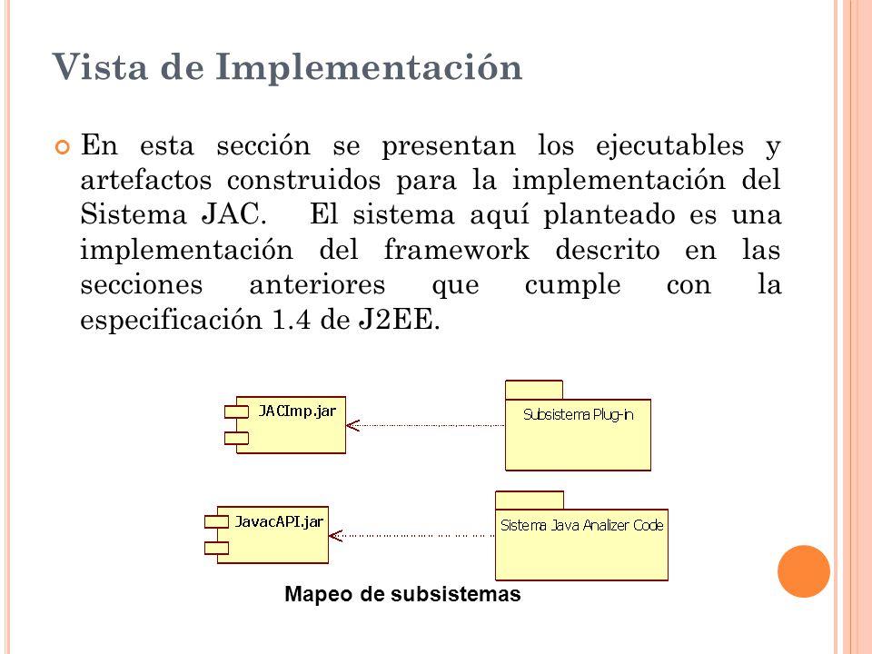 Vista de Implementación En esta sección se presentan los ejecutables y artefactos construidos para la implementación del Sistema JAC.