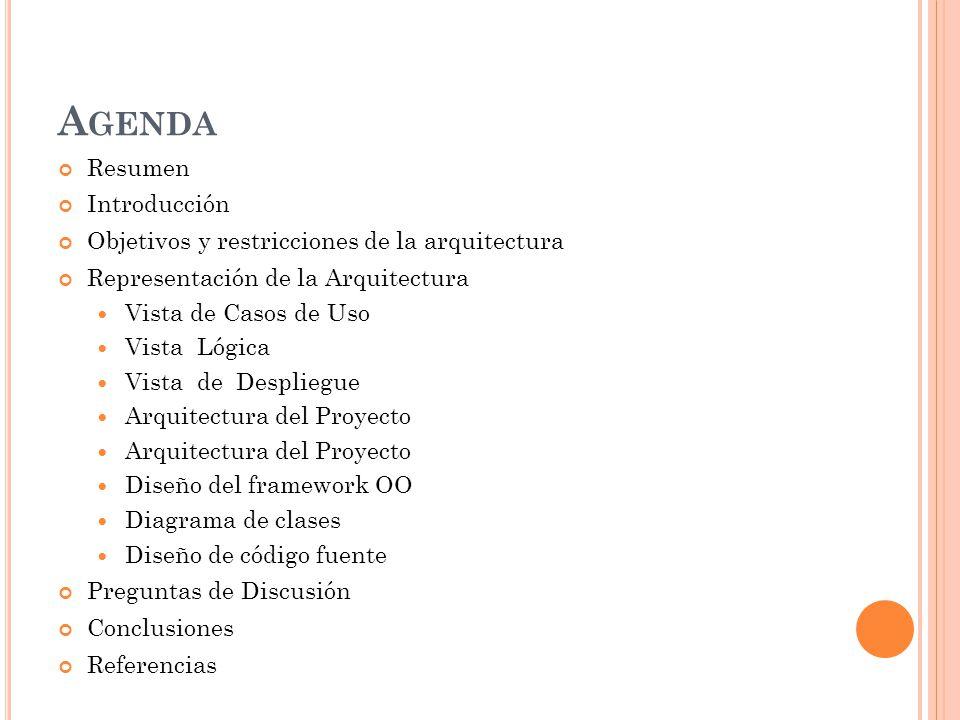 A GENDA Resumen Introducción Objetivos y restricciones de la arquitectura Representación de la Arquitectura Vista de Casos de Uso Vista Lógica Vista de Despliegue Arquitectura del Proyecto Diseño del framework OO Diagrama de clases Diseño de código fuente Preguntas de Discusión Conclusiones Referencias