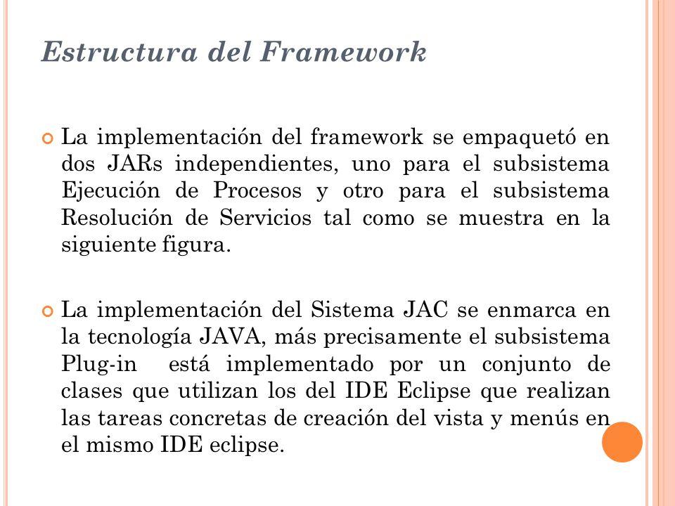 Estructura del Framework La implementación del framework se empaquetó en dos JARs independientes, uno para el subsistema Ejecución de Procesos y otro para el subsistema Resolución de Servicios tal como se muestra en la siguiente figura.