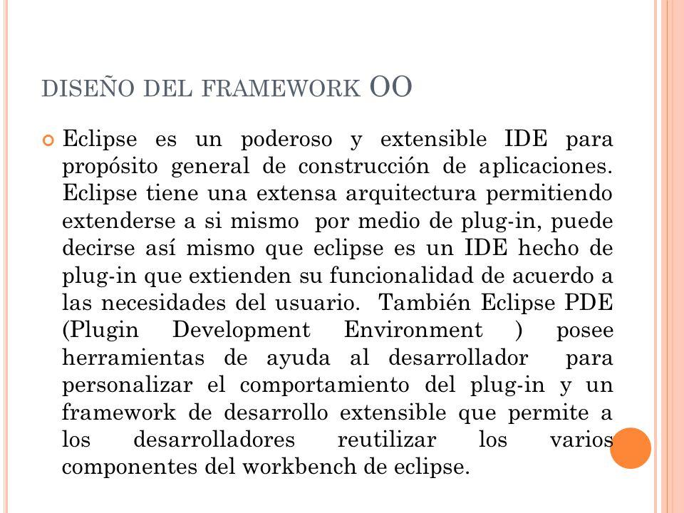 DISEÑO DEL FRAMEWORK OO Eclipse es un poderoso y extensible IDE para propósito general de construcción de aplicaciones.