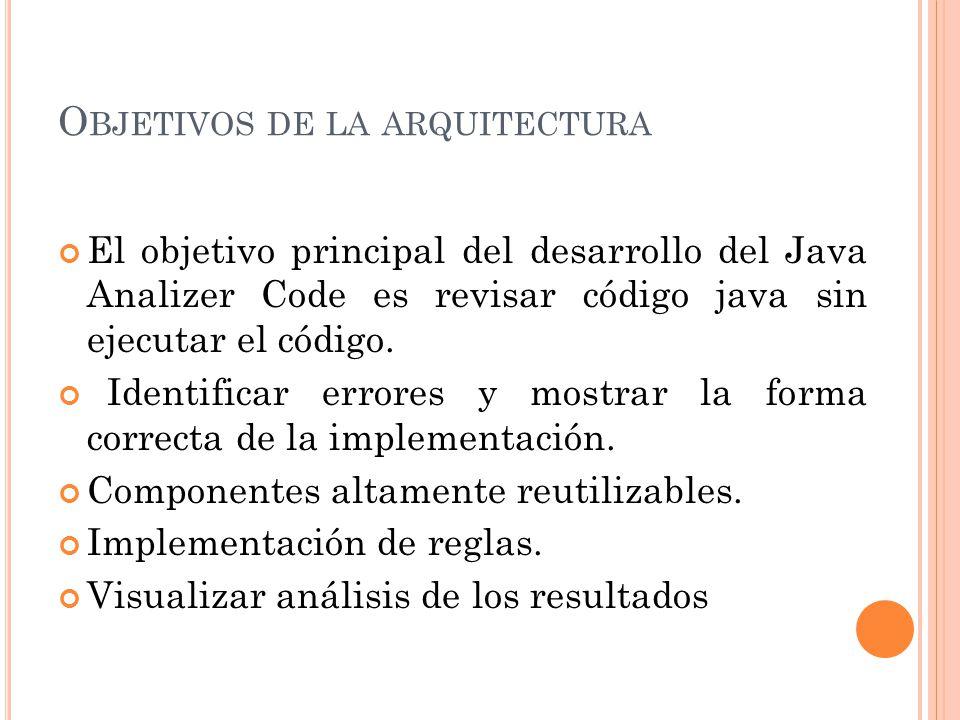O BJETIVOS DE LA ARQUITECTURA El objetivo principal del desarrollo del Java Analizer Code es revisar código java sin ejecutar el código.