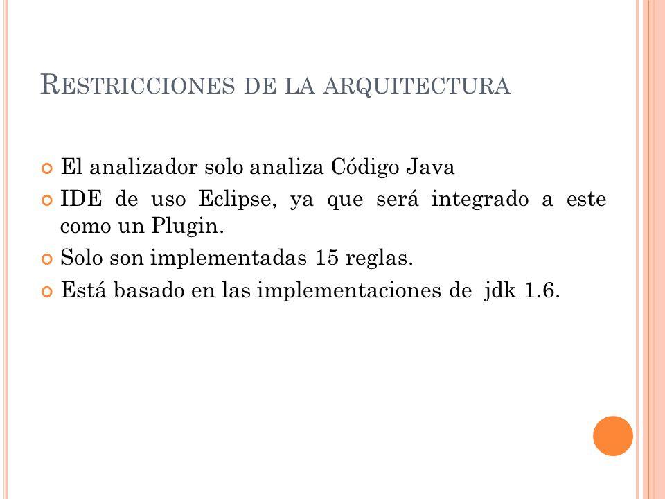 R ESTRICCIONES DE LA ARQUITECTURA El analizador solo analiza Código Java IDE de uso Eclipse, ya que será integrado a este como un Plugin.