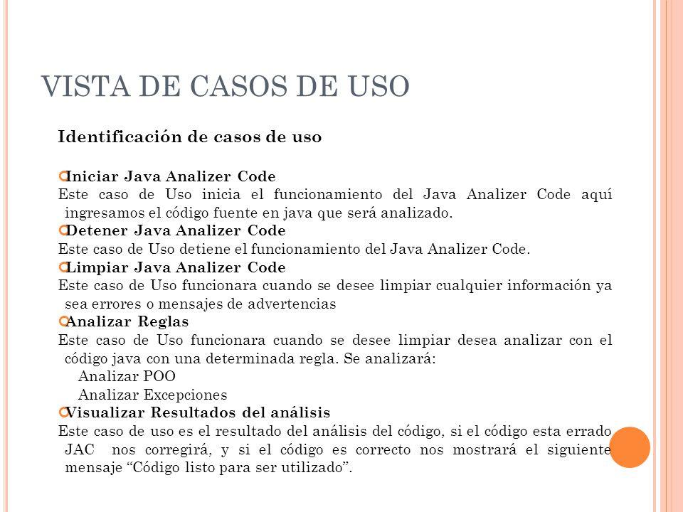 VISTA DE CASOS DE USO Identificación de casos de uso Iniciar Java Analizer Code Este caso de Uso inicia el funcionamiento del Java Analizer Code aquí ingresamos el código fuente en java que será analizado.