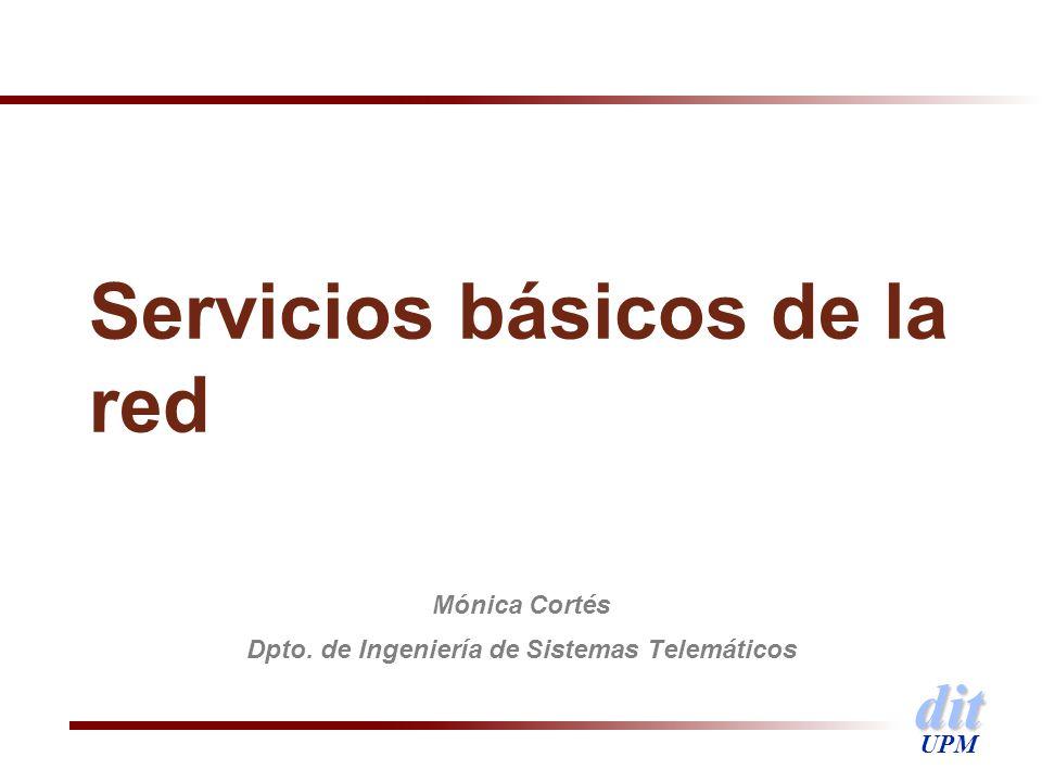 dit UPM Servicios básicos de la red Mónica Cortés Dpto. de Ingeniería de Sistemas Telemáticos