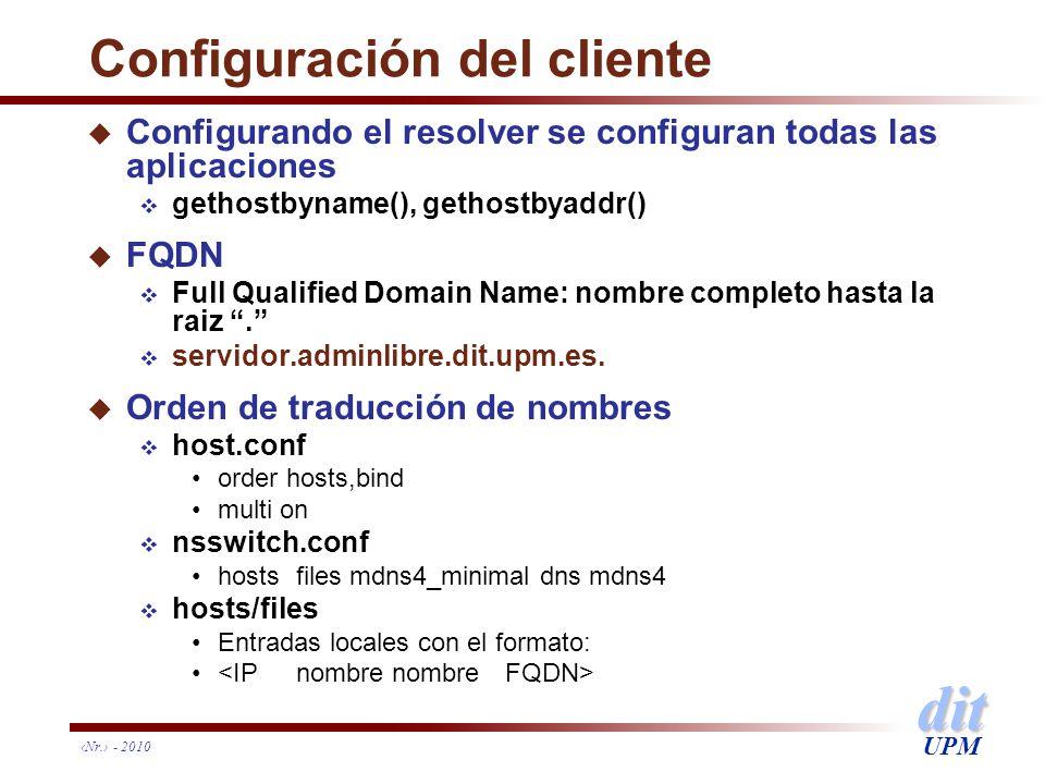 dit UPM Configuración del cliente u Configurando el resolver se configuran todas las aplicaciones gethostbyname(), gethostbyaddr() u FQDN Full Qualifi