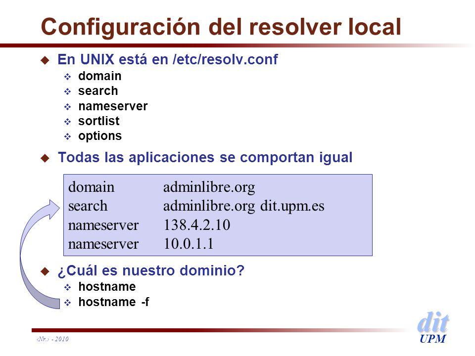 dit UPM Configuración del resolver local u En UNIX está en /etc/resolv.conf domain search nameserver sortlist options u Todas las aplicaciones se comp