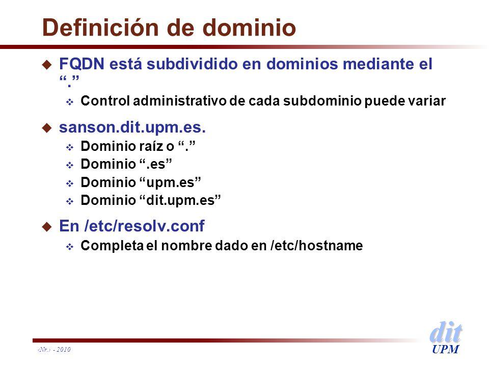 dit UPM Definición de dominio u FQDN está subdividido en dominios mediante el. Control administrativo de cada subdominio puede variar u sanson.dit.upm