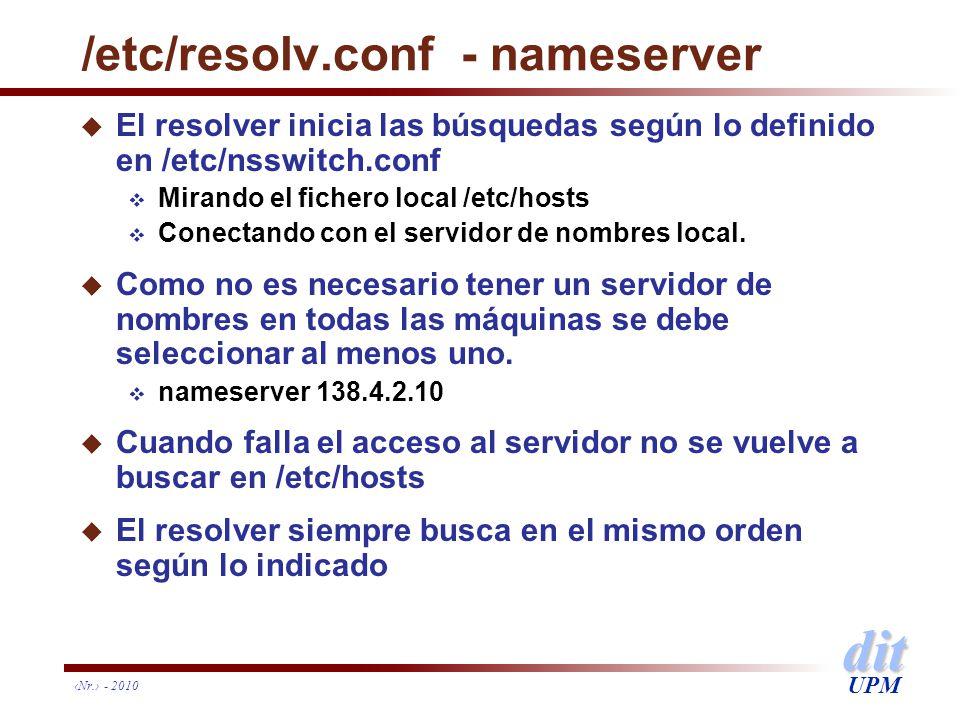 dit UPM /etc/resolv.conf - nameserver u El resolver inicia las búsquedas según lo definido en /etc/nsswitch.conf Mirando el fichero local /etc/hosts C