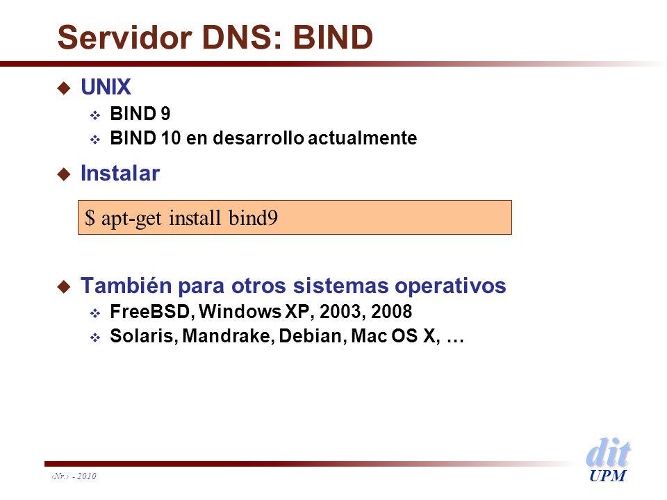 dit UPM Servidor DNS: BIND u UNIX BIND 9 BIND 10 en desarrollo actualmente u Instalar u También para otros sistemas operativos FreeBSD, Windows XP, 20