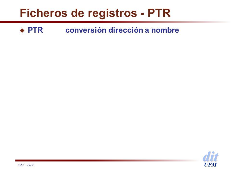 dit UPM Ficheros de registros - PTR u PTRconversión dirección a nombre Nr. - 2010