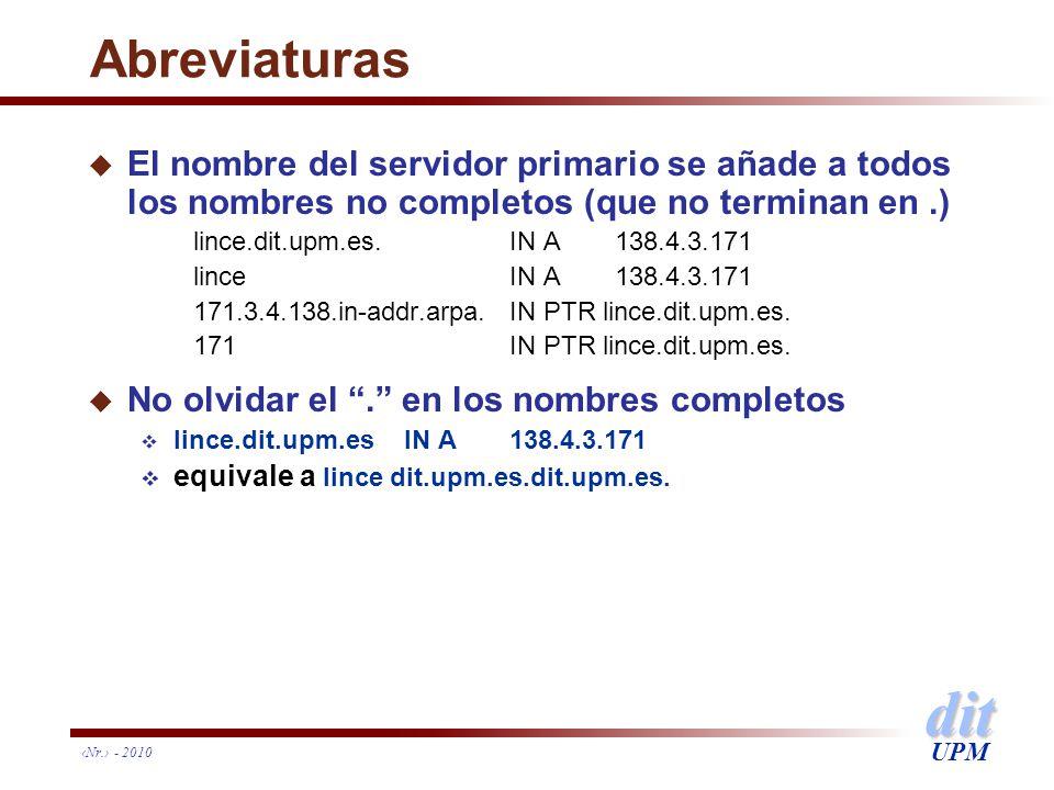 dit UPM Nr. - 2010 Abreviaturas u El nombre del servidor primario se añade a todos los nombres no completos (que no terminan en.) lince.dit.upm.es.IN