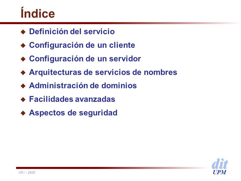 dit UPM Índice u Definición del servicio u Configuración de un cliente u Configuración de un servidor u Arquitecturas de servicios de nombres u Admini